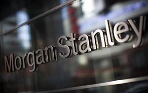 The corporate logo of financial firm Morgan Stanley is pictured on the company